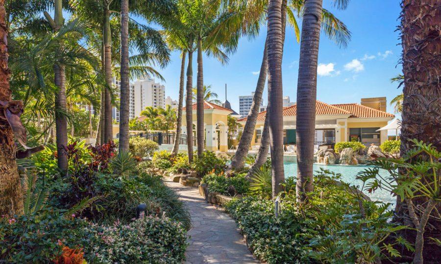 Chevron Renaissance gardens and walkway
